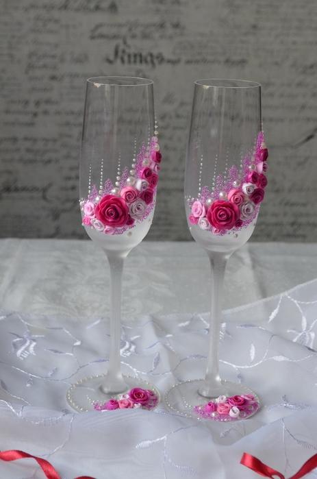 Свадебные бокалы своими руками пошагово красное