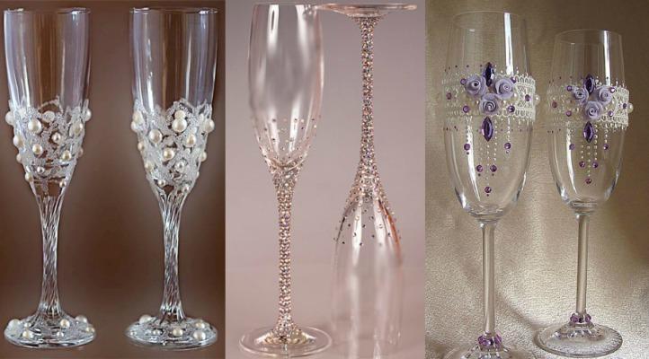 Украсить свадебные бокалы своими руками оригинально