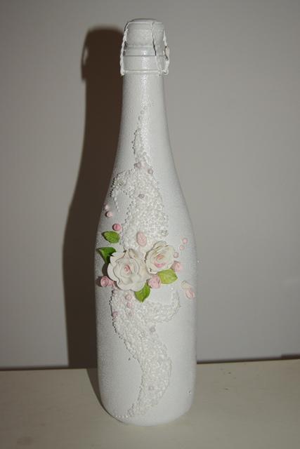 как украсить бутылки на свадьбу